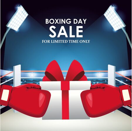 Boxing sale colorful design with gift box and boxing gloves over boxing ring background, vector illustration