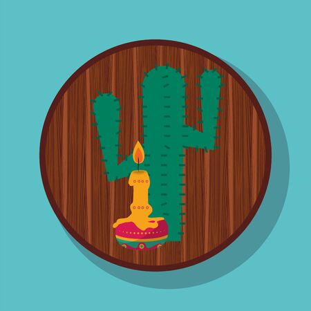 cactus plant and candle mexican culture vector illustration design