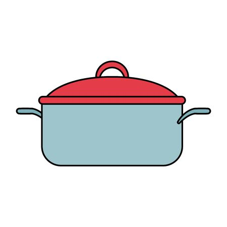 saucepan pot icon, over white background, vector illustration