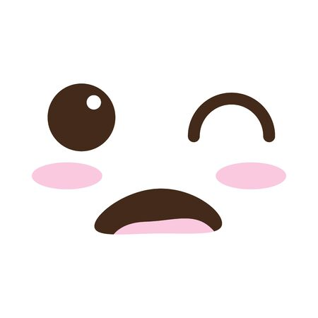 surprised face kawaii comic character vector illustration design
