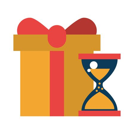 gift box present with hourglass vector illustration design