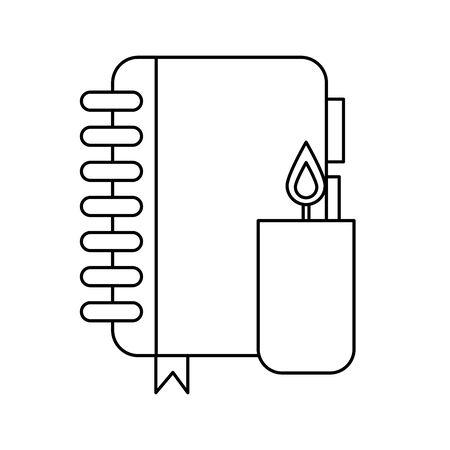 candle fire flame with notebook vector illustration design Ilustração