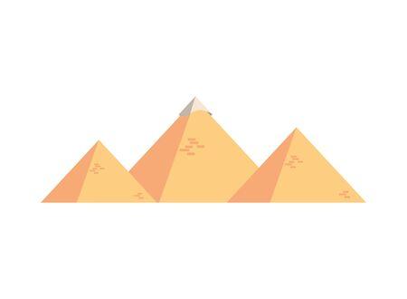 Egyptian pyramids desert scene icon vector illustration design