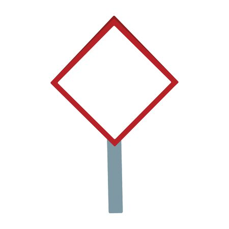 blank warning sign icon over white background, vector illustration
