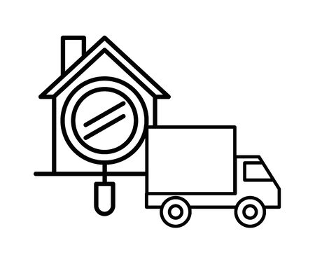 house front facade with truck vector illustration design
