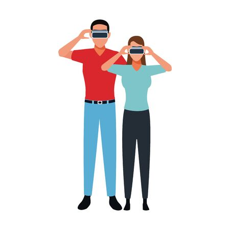 Man and woman with smartglasses design, Augmented reality virtual technology device and modern theme Vector illustration
