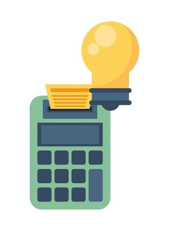 bulb light energy with calculator vector illustration design 일러스트