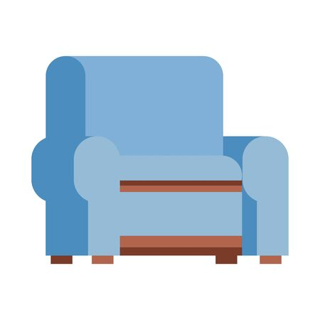 blue couch icon over white background, vector illustration