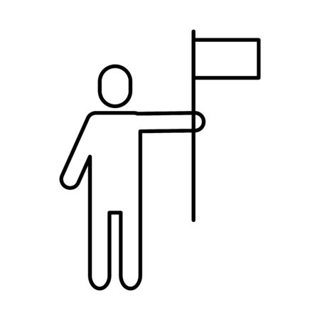 human profile head with success flag icon vector illustration design