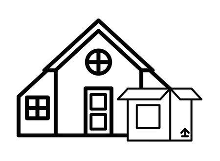 house front facade with box carton vector illustration design
