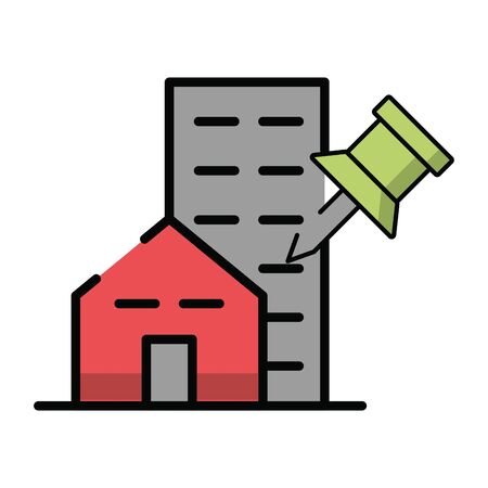 buildings with paper note pin vector illustration design