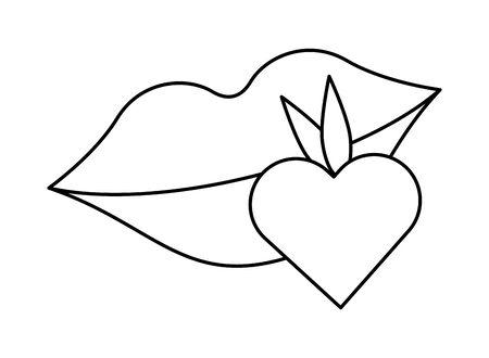 sexy female lips with heart love strawberry vector illustration design Standard-Bild - 137801023