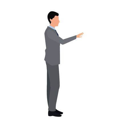 businessman pointing icon over white background, vector illustration