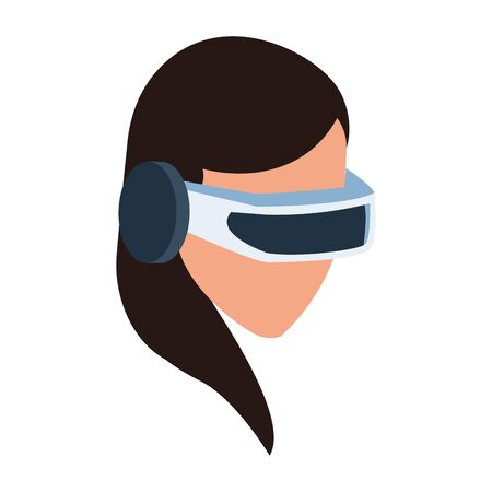 Woman with smartglasses design, Augmented reality virtual technology device and modern theme Vector illustration