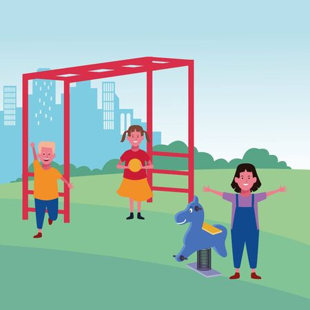 kids zone, gil with ball and boy monkey bars and spring horse playground vector illustration