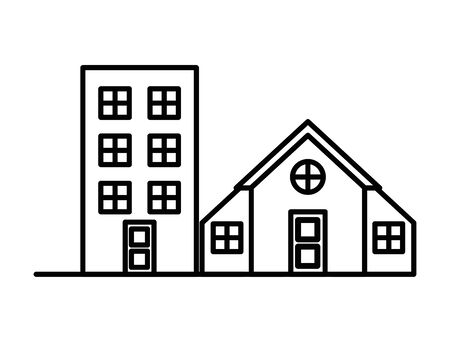 house and building front facades vector illustration design