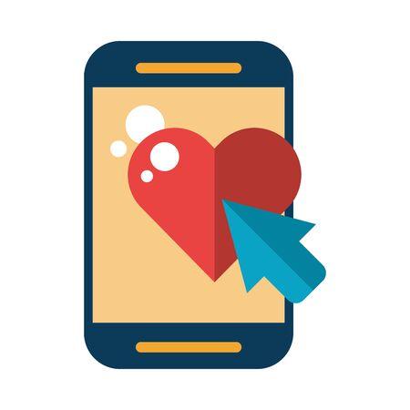 Dispositivo smartphone con diseño de ilustración de vector de amor de corazón Ilustración de vector