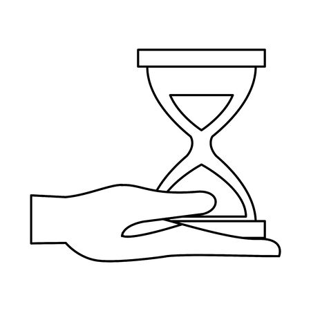 hand lifting hourglass timer icon vector illustration design
