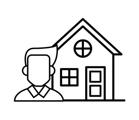 house front facade with man character vector illustration design
