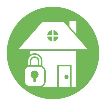 house front facade with padlock vector illustration design