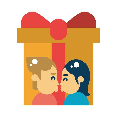 couple kissing with gift box present vector illustration design