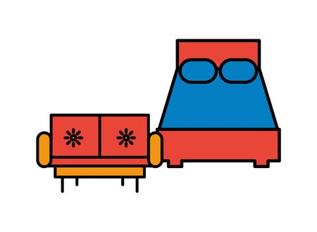 bed and sofa forniture isolated icon vector illustration design Ilustrace