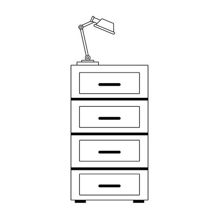file cabinet with desk lamp icon over white background, vector illustration
