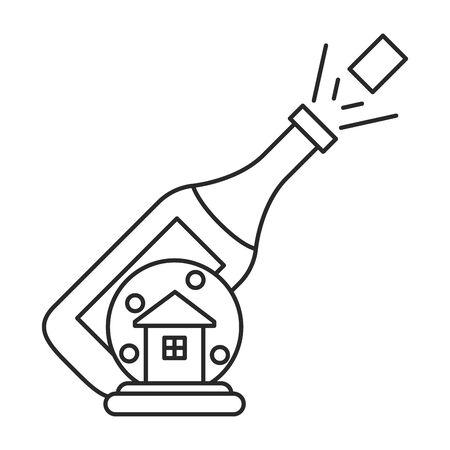 champagne bottle drink isolated icon vector illustration design Stock fotó - 137874533