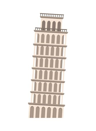 pisa tower monument italian icon vector illustration design
