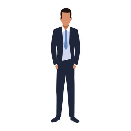 avatar businessman standing icon over white background, vector illustration