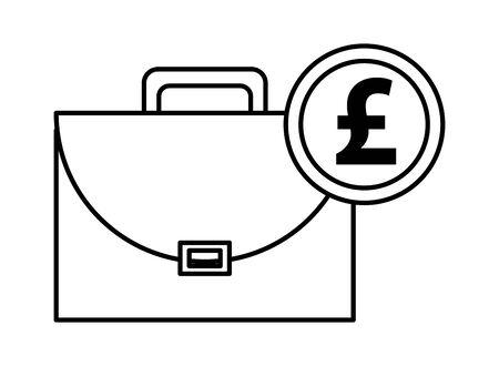 portfolio briefcase with sterling pound vector illustration design