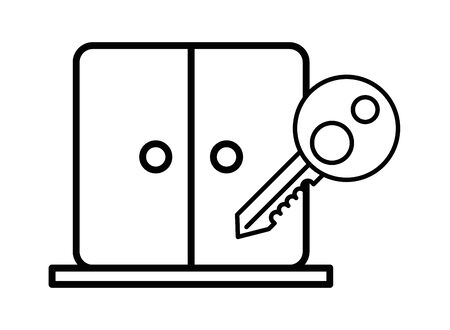 house door with key icon vector illustration design Ilustrace
