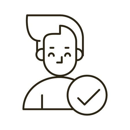 young man with check symbol character icon vector illustration design