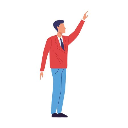 avatar businessman with arm up over white background, vector illustration