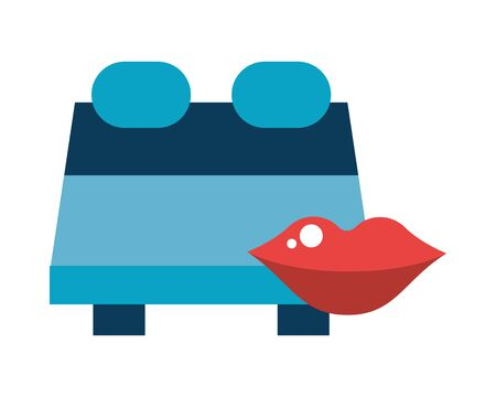 sexy female lips love with bed vector illustration design