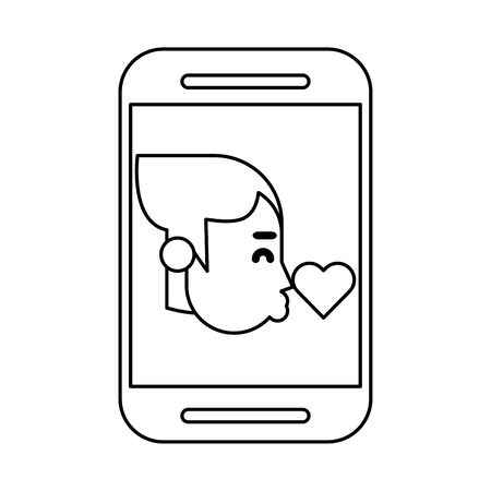 smartphone device with woman kissing heart vector illustration design