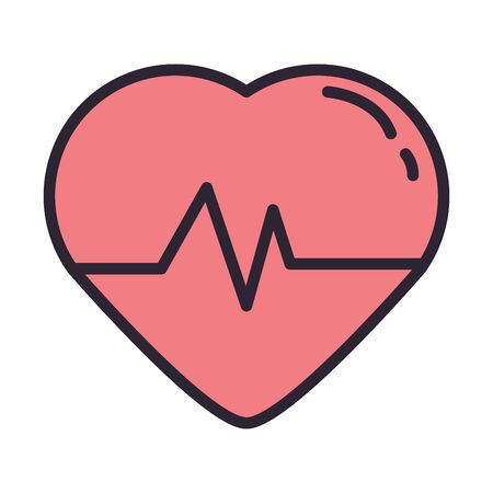 heart cardio with pulse icon vector illustration design Illustration