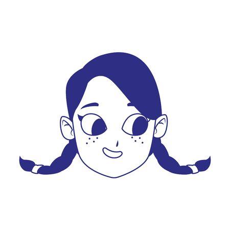 cute girl with braids over white background, vector illustration Ilustração