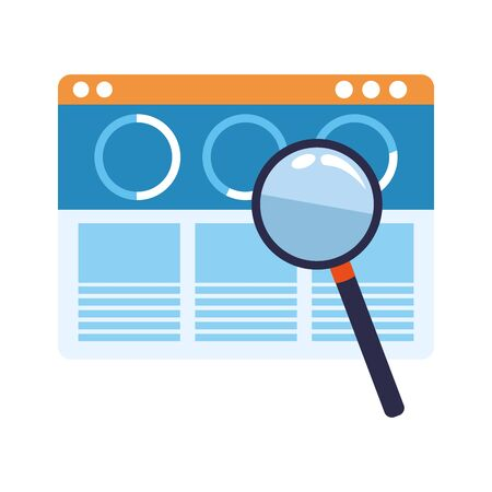 web windows interface and magnifying glass over white background, vector illustration Illustration