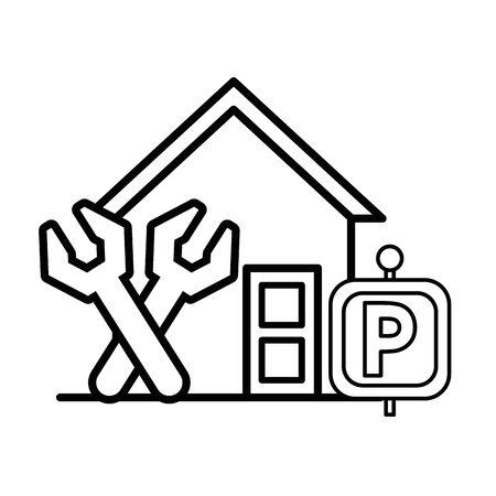 house front facade with wrench tools vector illustration design Illusztráció