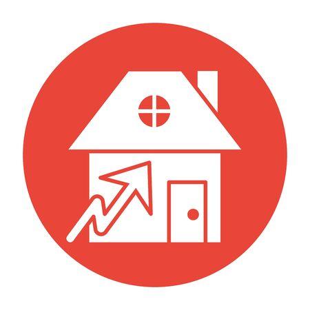 house front facade with arrow vector illustration design
