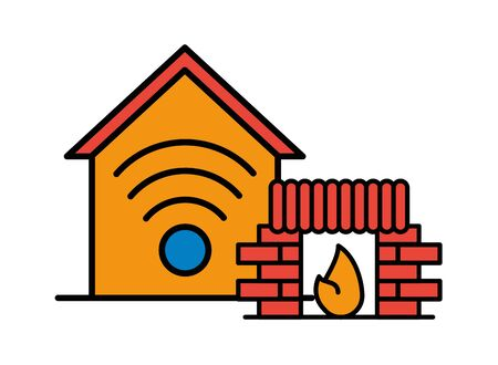 house front facade with chimney and wifi signal vector illustration design