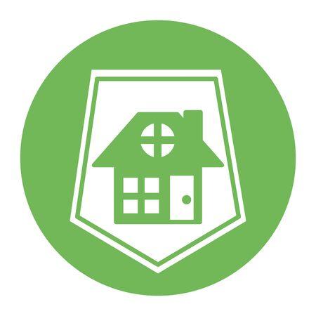 house front facade in shield vector illustration design