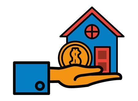 house front facade with coin dollar money vector illustration design Illusztráció