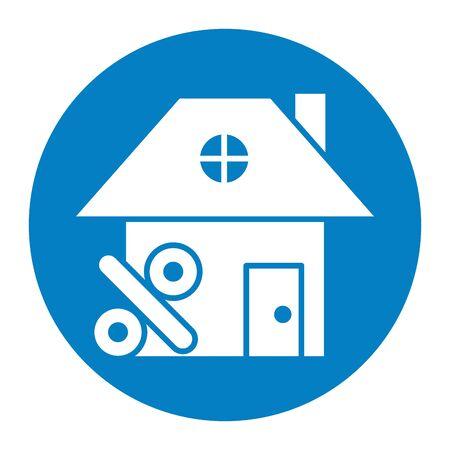 house front facade with percent symbol vector illustration design Illusztráció