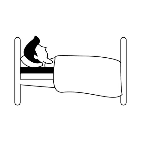 Man sleeping on bed sideview cartoon vector illustration graphic design Foto de archivo - 137727237