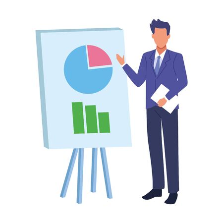 avatar businessman showing report graphic chart board over white background, colorful designvector illustration