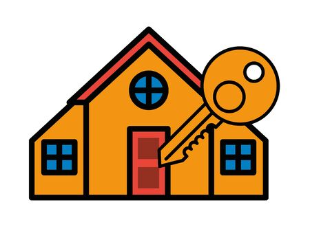 house front facade with key door vector illustration design