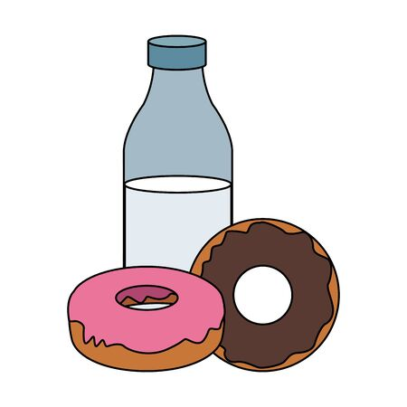 milk bottle and sweet donuts icon over white background, vector illustration Ilustração