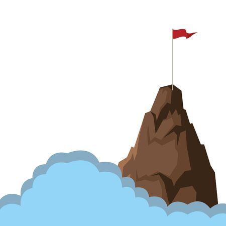 mountain goal peak cartoon vector illustration graphic design